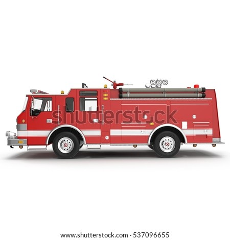 Side view Fire truck or engine Isolated on White. 3D illustration
