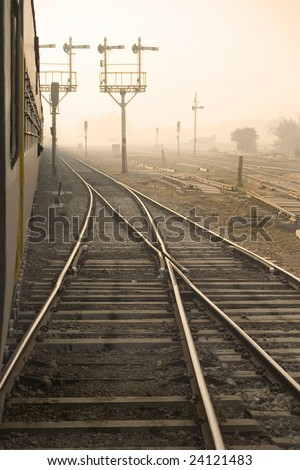 Side view from a train at India - stock photo