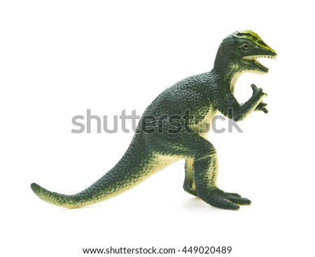 side view green Dilophosaurus toy on a white background