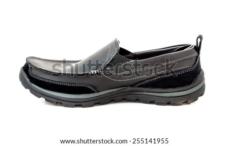 side view image of a pair of casual style black leather shoes on white background - stock photo