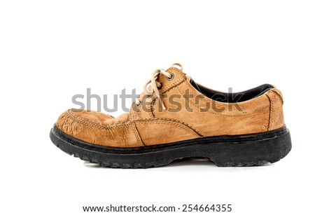 side view image of a pair of old leather brown shoes on white background - stock photo