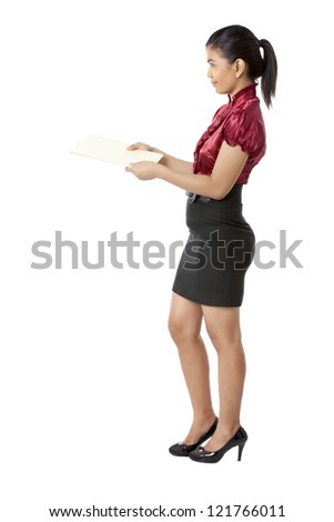 Side view image of a young lady wearing a formal attire holding a folder