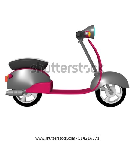 Side view isolated scooter parket at white studio - stock photo