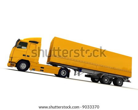 Side view of a big yellow truck against a white background