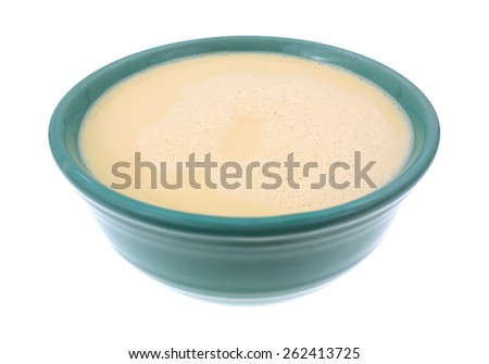 Side view of a bowl filled with evaporated milk on a white background. - stock photo