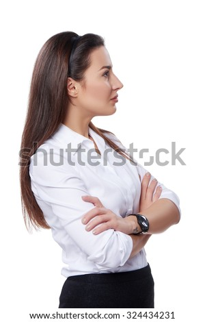 Side view of a buccessful business woman looking forward at blank copy space, over white background - stock photo