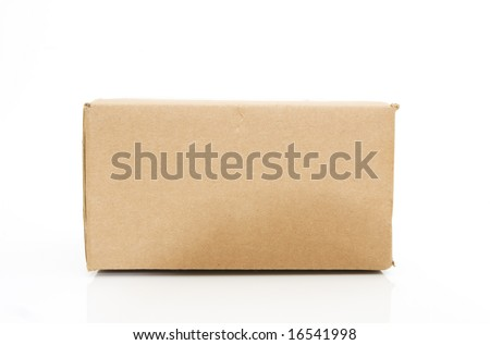 side view of a cardboard box isolated against white background - stock photo