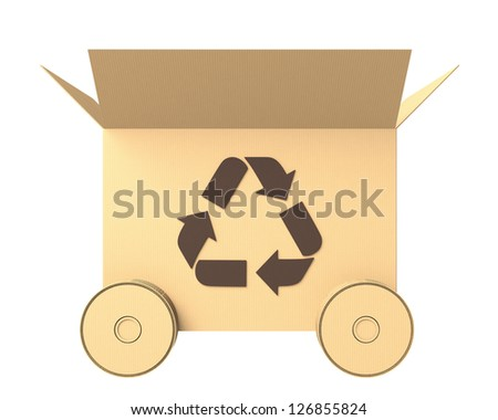 side view of a cardboard box with recycle mark and wheels