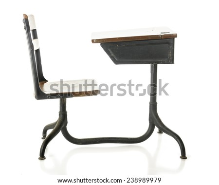 Side view of a child's antique school desk. On a white background. - stock photo