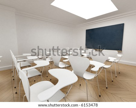Side view of a classroom with a chalkboard - stock photo