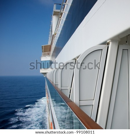 Side view of a  cruise ship. - stock photo