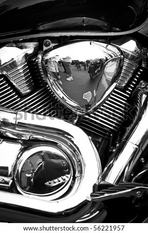 Side view of a custom motorcycle engine - stock photo
