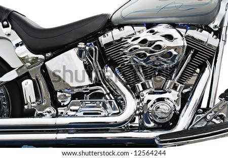 Side view of a custom motorcycle engine - Clipping path included