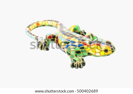 Side view of a decorative lizard isolated on white