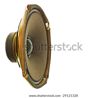 Side view of a golden colored speaker. Focus at the cone/magnet. Isolated on white. - stock photo