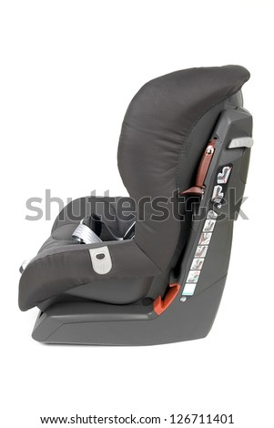 Side view of a gray brown safety car seat for children, isolated on white background. - stock photo
