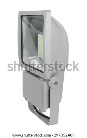 Side view of a high-wattage LED floodlight, isolated on white background, with clipping path.