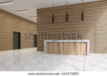 Side view of a light wooden reception counter standing in an office lobby with marble floor. 3d rendering.