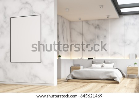 side view of a marble bedroom interior with a panoramic window a double bed and