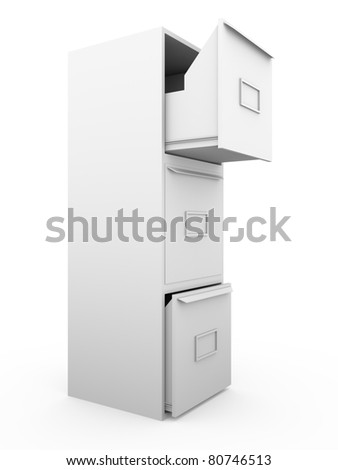 Side view of a metallic drawer. 3d render - stock photo