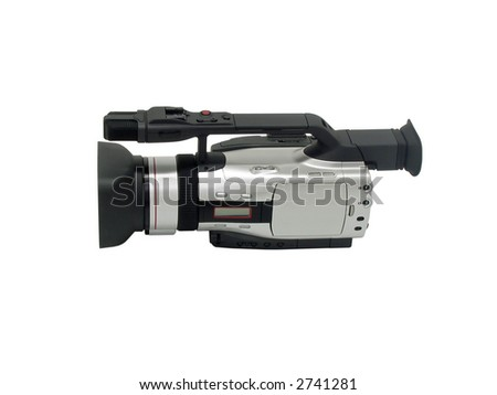 side view of a modern video camera isolated on a white background