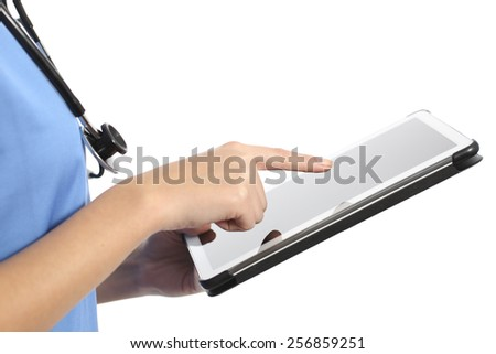 Side view of a nurse or doctor hand using a tablet isolated on a white background - stock photo