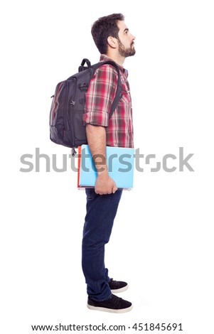 Side view of a pensive student, isolated on white background - stock photo