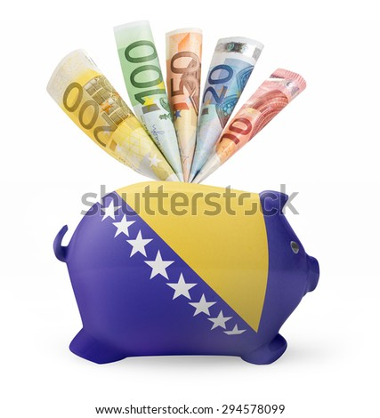 Side view of a piggy bank with the flag design of Bosnia and Herzegovina and various european banknotes.(series) - stock photo