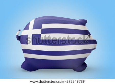 Side view of a piggy bank with the flag design of Greece.(series) - stock photo