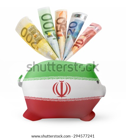 Side view of a piggy bank with the flag design of Iran and various european banknotes.(series) - stock photo