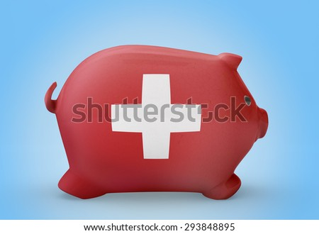 Side view of a piggy bank with the flag design of Switzerland.(series)