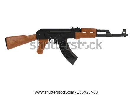 Side view of a russian AK-47 automatic gun - stock photo