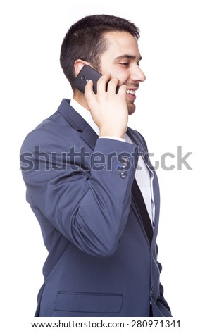 Side view of a smiling business man talking on the cell phone, isolated on white background - stock photo