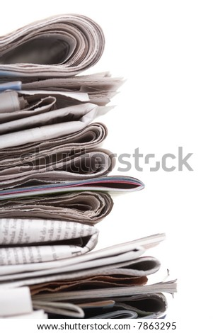Side view of a stack of newspapers