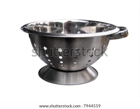 Side view of a steel colander