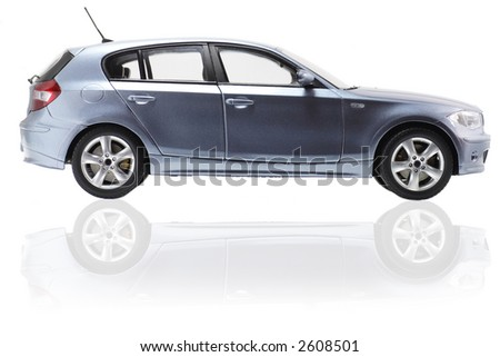 Side view of a vehicle. Metallic paint texture on car, not noise. No logo shown. - stock photo