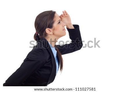 Side view of a young business woman looking at something high and far away. Isolated on white background. - stock photo