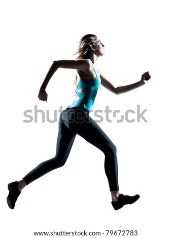 Side view of a young sporty woman jogging isolated on white background - stock photo