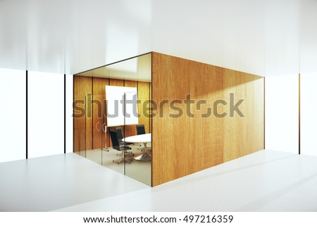 Side view of abstract wooden conference room. 3D Rendering