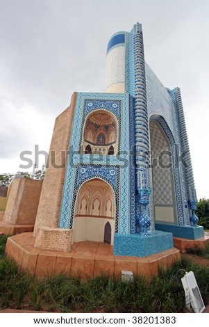 Side view of Abu Nasr, Balkh, Afghanistan scaled replicas - stock photo