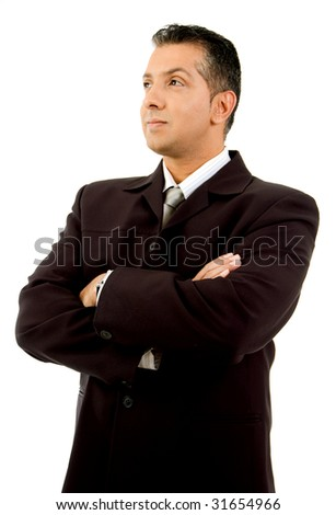 side view of adult manager looking aside on an isolated white background - stock photo