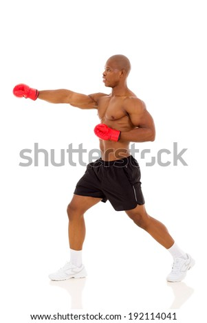 side view of african american man boxing - stock photo