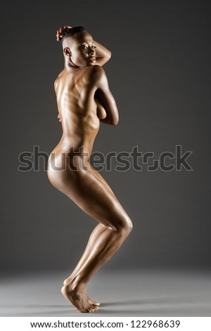 Side view of African American woman - stock photo