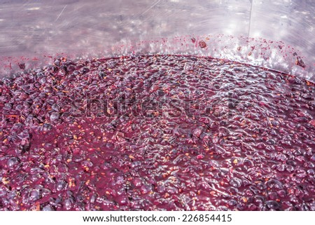 Side view of aluminium container for wine fermentation process, red color - stock photo