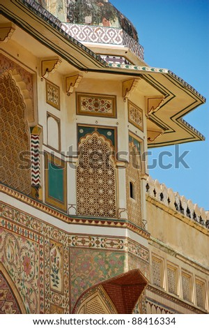 Side view of Amber fort, India