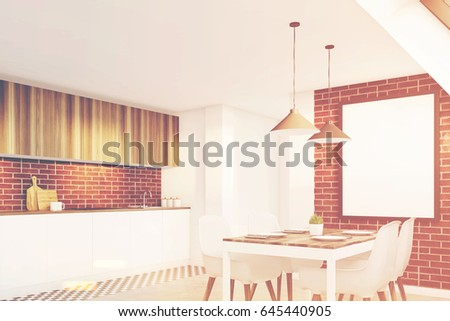 Side view of an attic kitchen with brick walls, a long wooden table and a framed vertical poster. 3d rendering, mock up, toned image