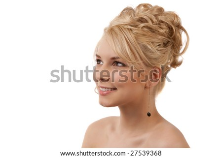 Side View Of An Attractive Blond Woman With A Formal HairStyle - stock photo