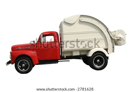 side view of an old garbage truck isolated and cut out - stock photo