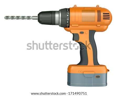 Side view of an orange cordless drill isolated on white background. 3D render. - stock photo