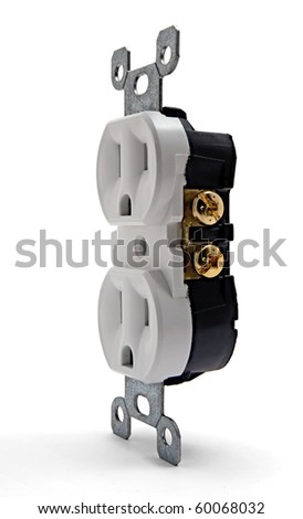 Side view of an uninstalled white electrical outlet - stock photo